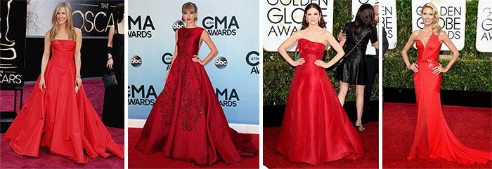 Знаменитости в вечерних красных платьях 1