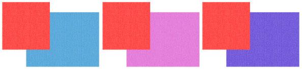 Сочетание красного с синим, розовым и фиолетовым
