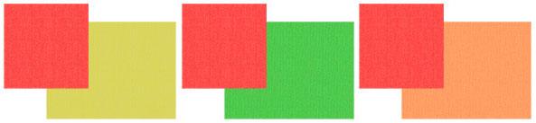 Сочетание красного с желтым, зеленым, оранжевым